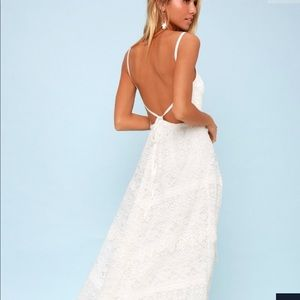 Faithfully Yours White Lace Backless Maxi Dress